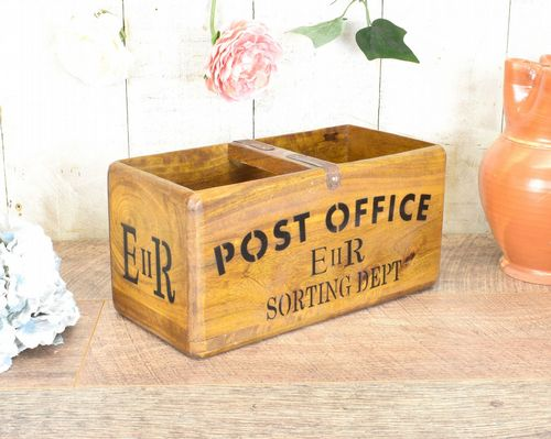 Medium Vintage Box Post Office Wood
